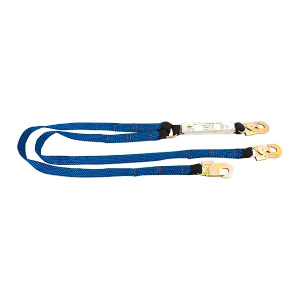Línea de Vida Poliéster Banda Plana Doble Brazo con Amortiguador y Gancho de Acero UFS Azul USP-866 1.8 m - 0