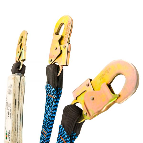 Línea de Vida Poliéster Banda Plana Doble Brazo con Amortiguador y Gancho de Acero UFS Azul USP-866 1.8 m - 2