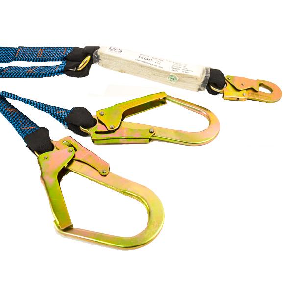 Línea de Vida Poliéster Banda Plana Doble Brazo con Amortiguador y Gancho de Acero Grande UFS Azul USP-866-G 1.8 m - 2