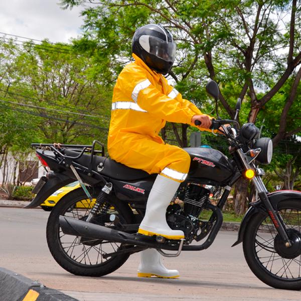 Impermeable PVC/Poliéster Calibre 0.35 mm 2 Pza. con Reflejante para Motociclista Jyrsa Amarillo DD-4121 - 3