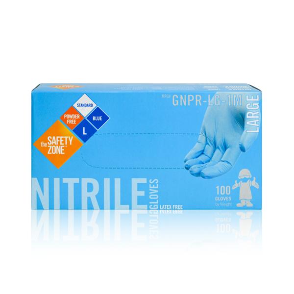 Guante Nitrilo 3.7 mil Desechable sin Polvo The Safety Zone (Paq. con 100 Pza.) Azul GNPR-(SIZE)-1M - 3