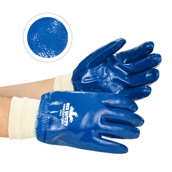 Guante Algodón Jersey Recubierto de Nitrilo Predator Memphis MCR (Par) Azul/Blanco 9751 LG - 3