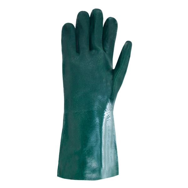 """Guante PVC Grado Industrial Doble Inmersión Texturizado con Forro Jersey Resistente a la Abrasión Nivel 3 Memphis MCR (Par) Verde 6424 14"""" - 1"""