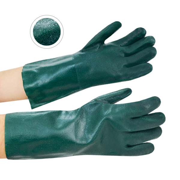 """Guante PVC Grado Industrial Doble Inmersión Texturizado con Forro Jersey Resistente a la Abrasión Nivel 3 Memphis MCR (Par) Verde 6424 14"""" - 3"""
