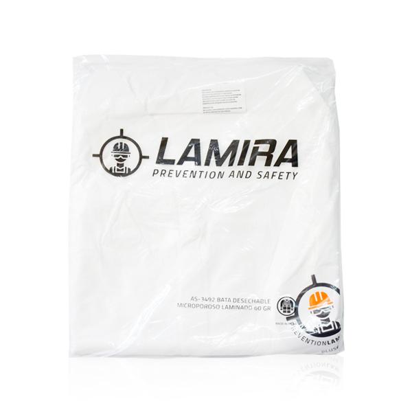 Bata Laminado Microporoso 50 g Desechable Lamira Blanco AS-3492 - 3