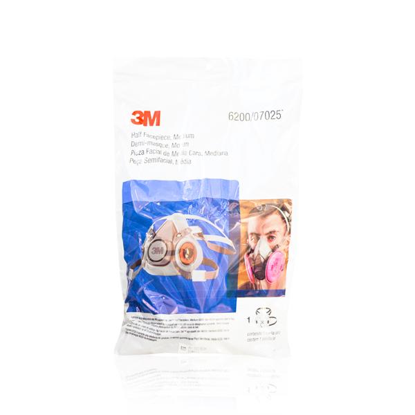 Respirador TPE Media Cara con Válvula de Exhalación 6200 3M Gris 70071606472 MD - 2