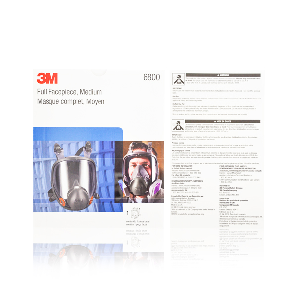Respirador Silicón/TPE Cara Completa con Válvula de Exhalación 6800 3M Negro 70070709053 MD - 1
