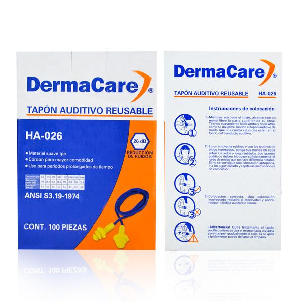 Tapón Auditivo Reutilizable con Cordón NRR 26 dB DermaCare Amarillo HA-026 - 3