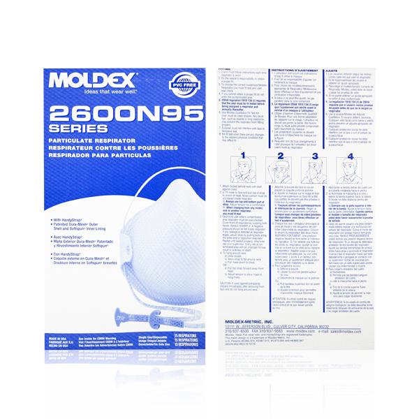 Respirador Desechable con Puente Nasal para Partículas N95 Moldex (Pieza) Blanco 2600N95 … - 2