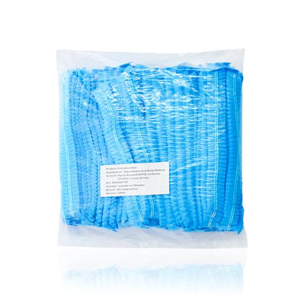 """Cofia Polipropileno Plisada Desechable Lamira (Paq. con 100 Pza.) Azul AS-3405AZ 21"""" - 3"""