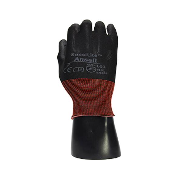 Guante  Nylon Recubierto de Poliuretano Resistente a Cortes Nivel A1 HyFlex Ansell (Par) Negro 48-101 - 0